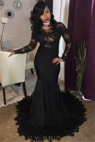 69cfe8b94a Elegant Lace Illusion Neck Long Sleeves Long Solid Stretch Mermaid Prom  Dress