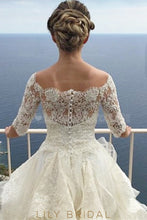 Elegant Lace Illusion Off Shoulder Half Sleeves Long Solid Ball Wedding Gown