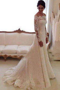 Lace Illusion Off Shoulder Long Sleeves Long Solid Sheath Wedding Dress with Court Train
