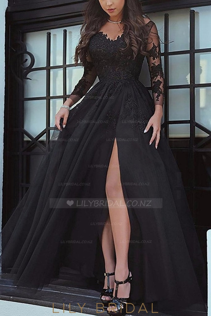 Lace Illusion Off Shoulder Long Sleeves Floor-Length Pleated Split Tulle Evening Dress