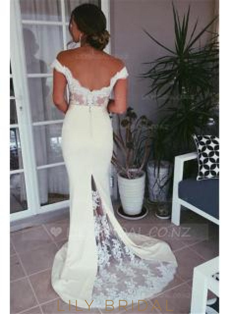 Lace Illusion Off Shoulder Zipper-Up Long Mermaid Evening Dress with Sweep Train