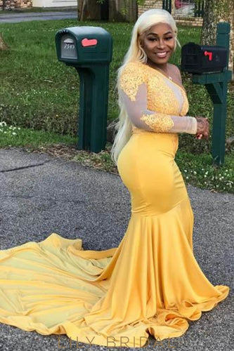 Lace Illusion One Shoulder Plus Size Long Solid Mermaid Prom Dress with Court Train