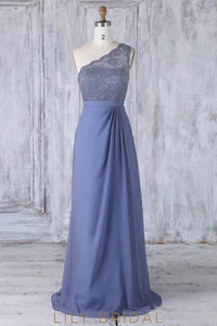 Lace Illusion One Shoulder Sleeveless Long Solid Sheath Chiffon Bridesmaid Dress