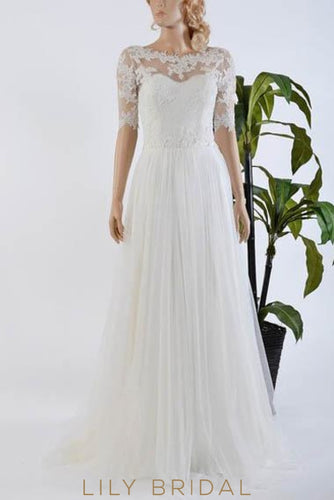 Lace Illusion Scalloped Edge Neck Half Sleeves Long Solid Sheath Tulle Wedding Gown