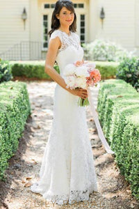 Lace Illusion Scalloped Edge Neck Short Sleeves Open Back Long Sheath Wedding Gown