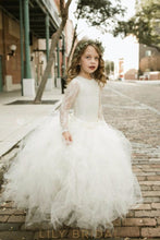 Lace Illusion Scoop Neck Long Sleeves Floor-Length Ball Gown Flower Girl Dress