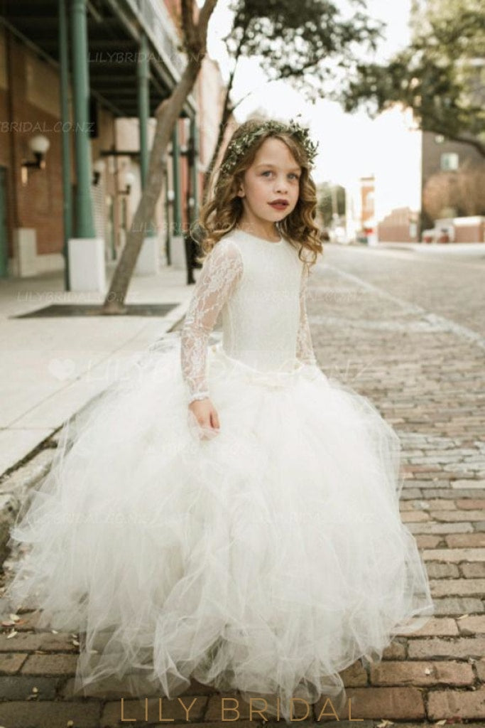4ae685910ef Lace Illusion Scoop Neck Long Sleeves Floor-Length Ball Gown Flower Girl  Dress