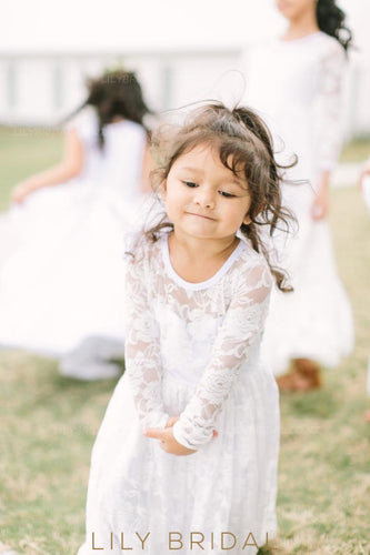 Elegant Lace Illusion Scoop Neck Long Sleeves Long Solid Sheath Flower Girl Dress