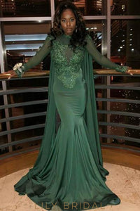 Lace Illusion Scoop Neck Long Sleeves Long Solid Mermaid Prom Dress with Sweep Train