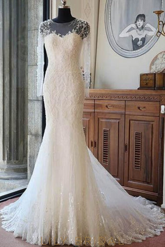 Elegant Lace Illusion Scoop Neck Long Sleeves Long Solid Mermaid Wedding Gown
