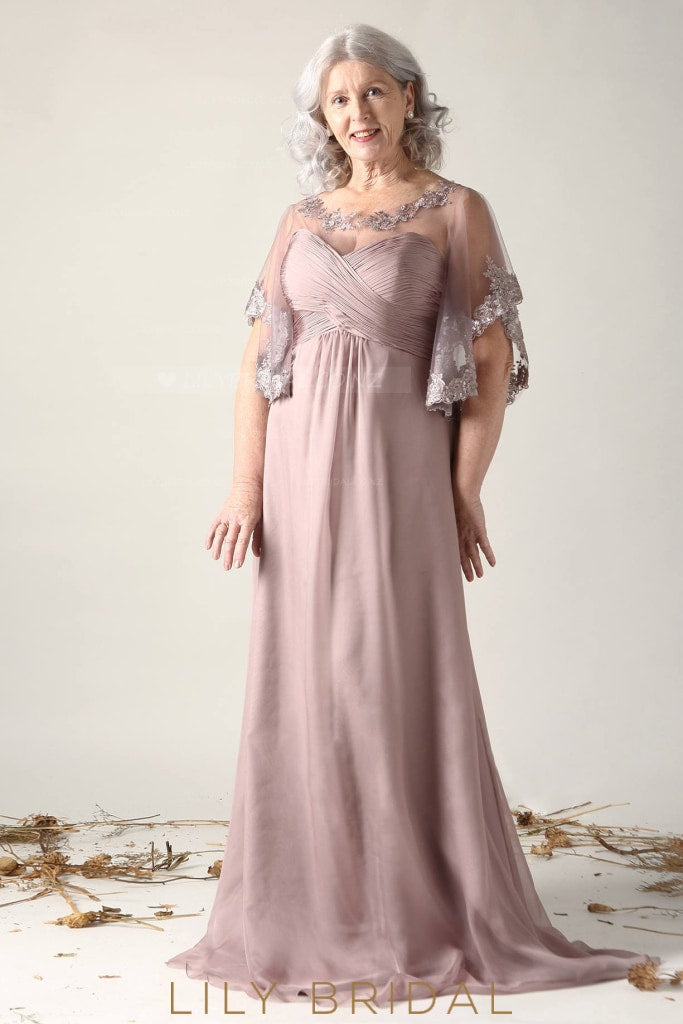 Lace Illusion Scoop Neck Short Bat Sleeves Long Solid Ruched Mother of the Bride Dress