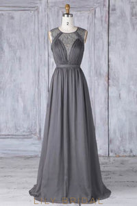 Lace Illusion Scoop Neck Sleeveless Zipper-Up Long Ruched Sheath Bridesmaid Dress