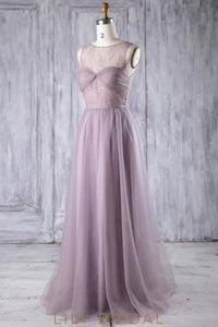 Lace Illusion Scoop Neck Sleeveless Open Back Floor-Length Sheath Bridesmaid Dress