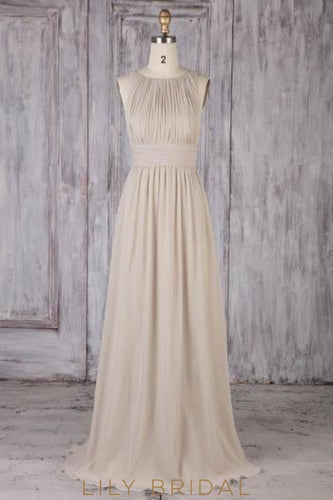 Lace Illusion Scoop Neck Sleeveless Open Back Long Sheath Ruched Bridesmaid Dress