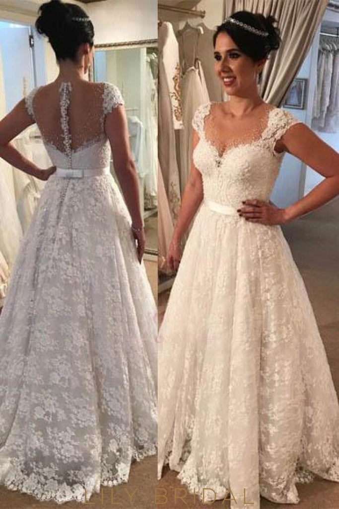 Lace Illusion Sheer Neck Cap Sleeves Long Solid Wedding Gown With Sweep Train