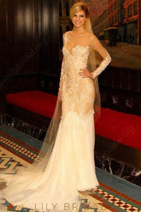 Lace Illusion Sheer Neck Long Sleeves Solid Sheath Wedding Dress With Court Train