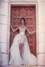Elegant Lace Illusion Sheer Neck Long Sleeves Long Solid Sheath Wedding Gown