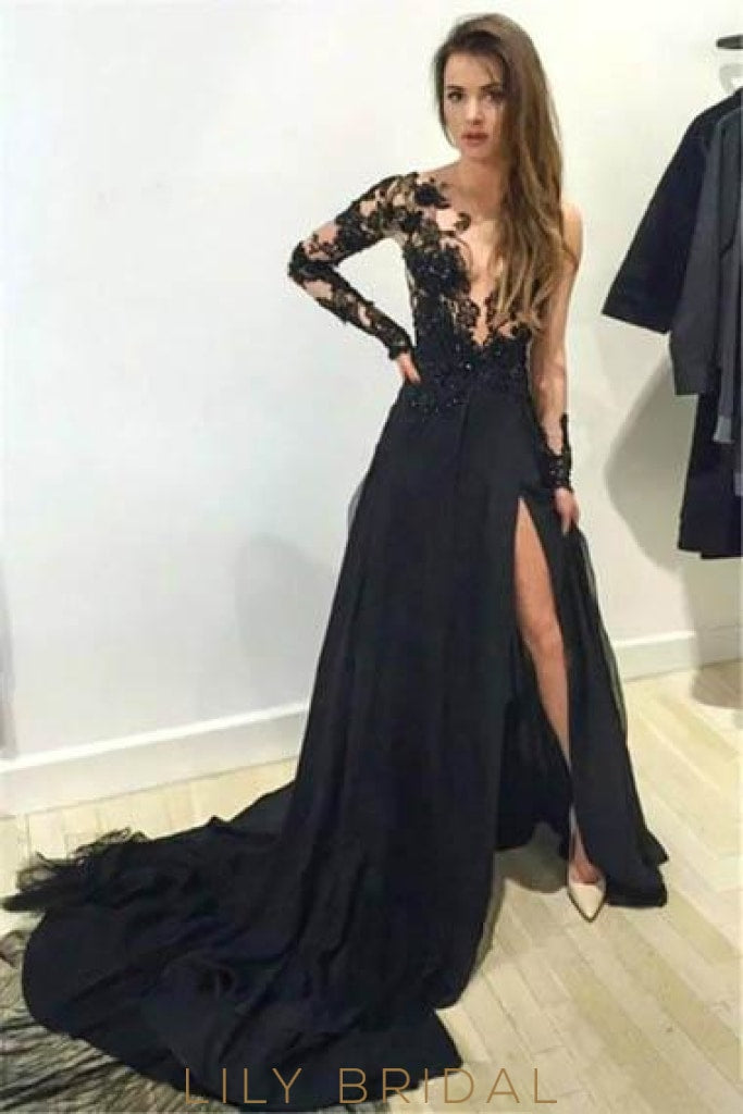 Lace Illusion Sheer Neck Long Sleeves Long Solid Split Evening Dress with Court Train