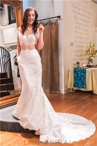 Lace Illusion Sheer Neck Short Sleeves Long Mermaid Wedding Dress with Court Train