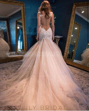 Lace Illusion Sheer Neck Sleeveless Long Mermaid Tulle Wedding Gown With Court Train