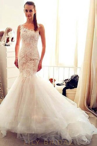 Lace Illusion Sheer Neck Sleeveless Zipper-Up Long Solid Mermaid Tulle Wedding Dress