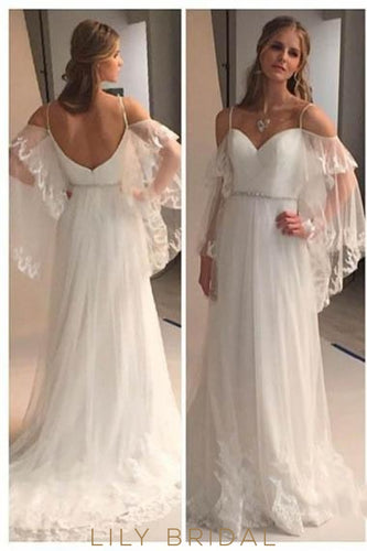 Lace Illusion Spaghetti Straps Cold Shoulder Long Sleeves Backless Long Sheath Wedding Gown
