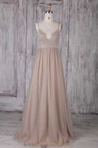 Lace Illusion Spaghetti Straps Sleeveless Zipper-Up Long Sheath Tulle Bridesmaid Dress