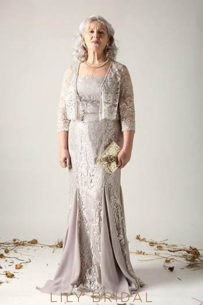 Lace Illusion Spaghetti Straps Zipper-Up Long Solid Mother of the Bride Jacket Dress