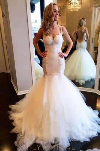 Elegant Lace Illusion Straps Sleeveless Long Solid Tulle Mermaid Wedding Gown