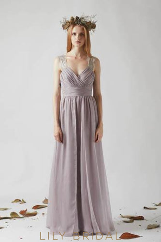 Lace Illusion Straps Sleeveless Open Back Long Solid Ruched Sheath Bridesmaid Dress
