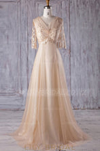 Lace Illusion V-Neck Half Sleeves Long Solid Tulle Bridesmaid Dress with Sweep Train