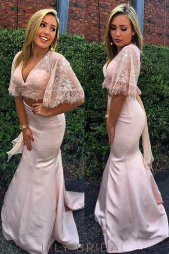 Lace Illusion V-Neck Half Sleeves Two Piece Long Solid Mermaid Evening Dresses