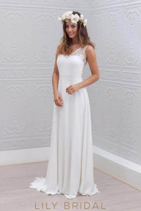 Boho Lace Illusion V-Neck Sleeveless Open Back Long Solid Sheath Wedding Dress