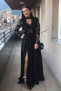 Lace Key-Hole Illusion High Neck Long Sleeves Floor-Length Solid Sheath Evening Dress