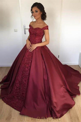 Lace Off Shoulder Long Solid Pleated Ball Gown Evening Dress with Sweep Train