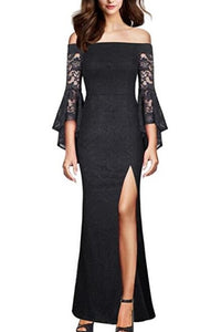 Lace Off Shoulder Long Sleeves Ankle-Length Slit Fit and Flare Mother Of The Bride Dress
