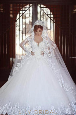Lace Illusion Off Shoulder Long Sleeves Ball Wedding Gown With Cathedral Train