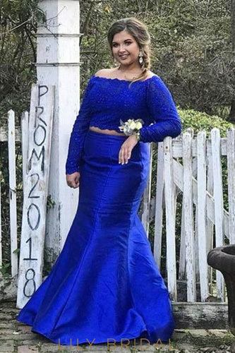 Lace Off Shoulder Long Sleeves Open Back Two Piece Long Mermaid Evening Dresses