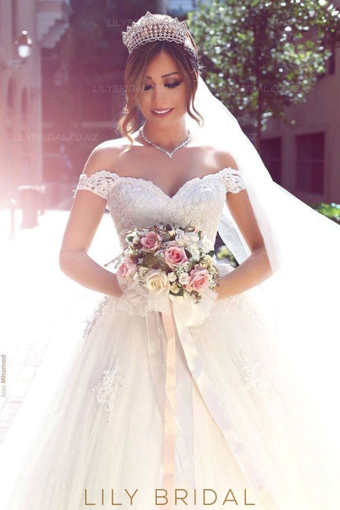 Elegant Lace Off Shoulder Long Solid Tulle Ball Wedding Gown with Chapel Train