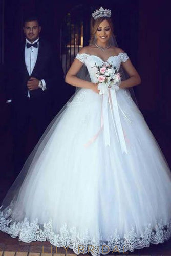 4da22bd47d9 Elegant Lace Off Shoulder Long Solid Tulle Ball Wedding Gown with Chapel  Train