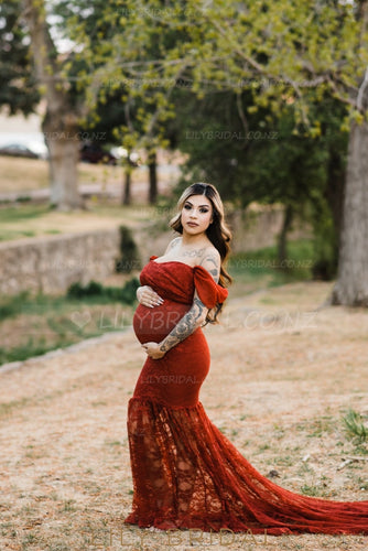 Lace Off Shoulder Short Sleeves Long Mermaid Maternity Wedding Dress with Chapel Train