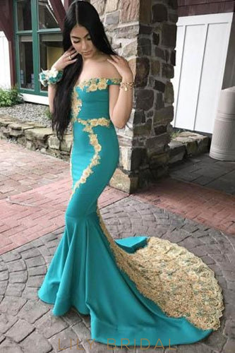 Lace Off Shoulder Zipper-Up Long Stretch Mermaid Prom Dress with Court Train