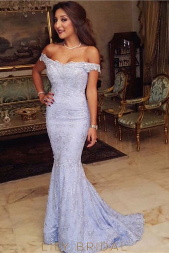 Elegant Lace Off Shoulder Zipper-Up Long Mermaid Evening Dress with Sweep Train