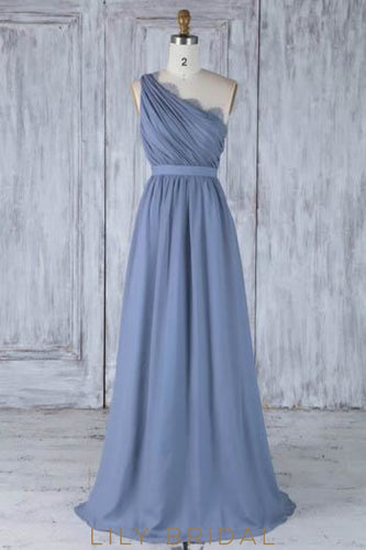 Lace One Shoulder Sleeveless Long Solid Ruched Sheath Chiffon Bridesmaid Dress