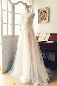 Lace Pearls Straps Illusion Straps Sleeveless Long Tulle Wedding Dress with Sweep Train