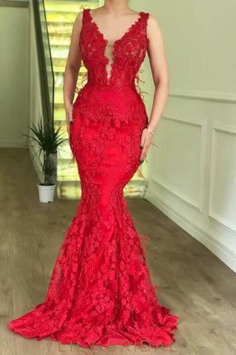2e5a3ac593 Elegant Lace Plunge Neck Sleeveless Long Solid Mermaid Prom Dress with  Sweep Train