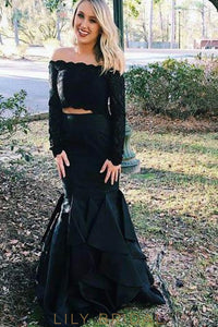 Lace Ruffles Off Shoulder Long Sleeves Two Piece Floor-Length Mermaid Prom Dresses