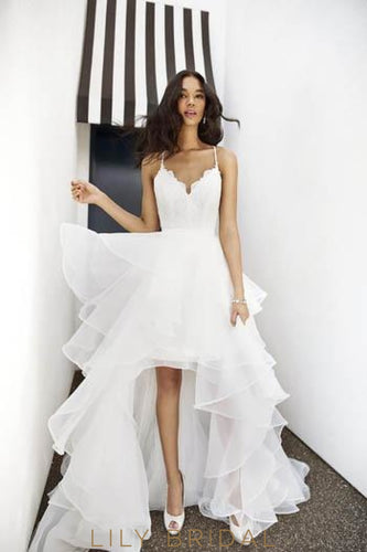 Elegant Lace Ruffles Spaghetti Straps Sleeveless High-Low Solid Organza Wedding Dress