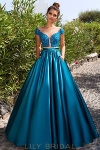 Lace Satin Illusion Cap Sleeve Ball Gown Prom Dress with Keyhole Back