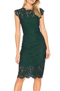 Elegant Lace Scalloped Edge Neck Cap Sleeves Short Bodycon Mother Of The Bride Dress